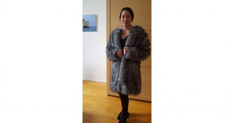 faux fur coat grey