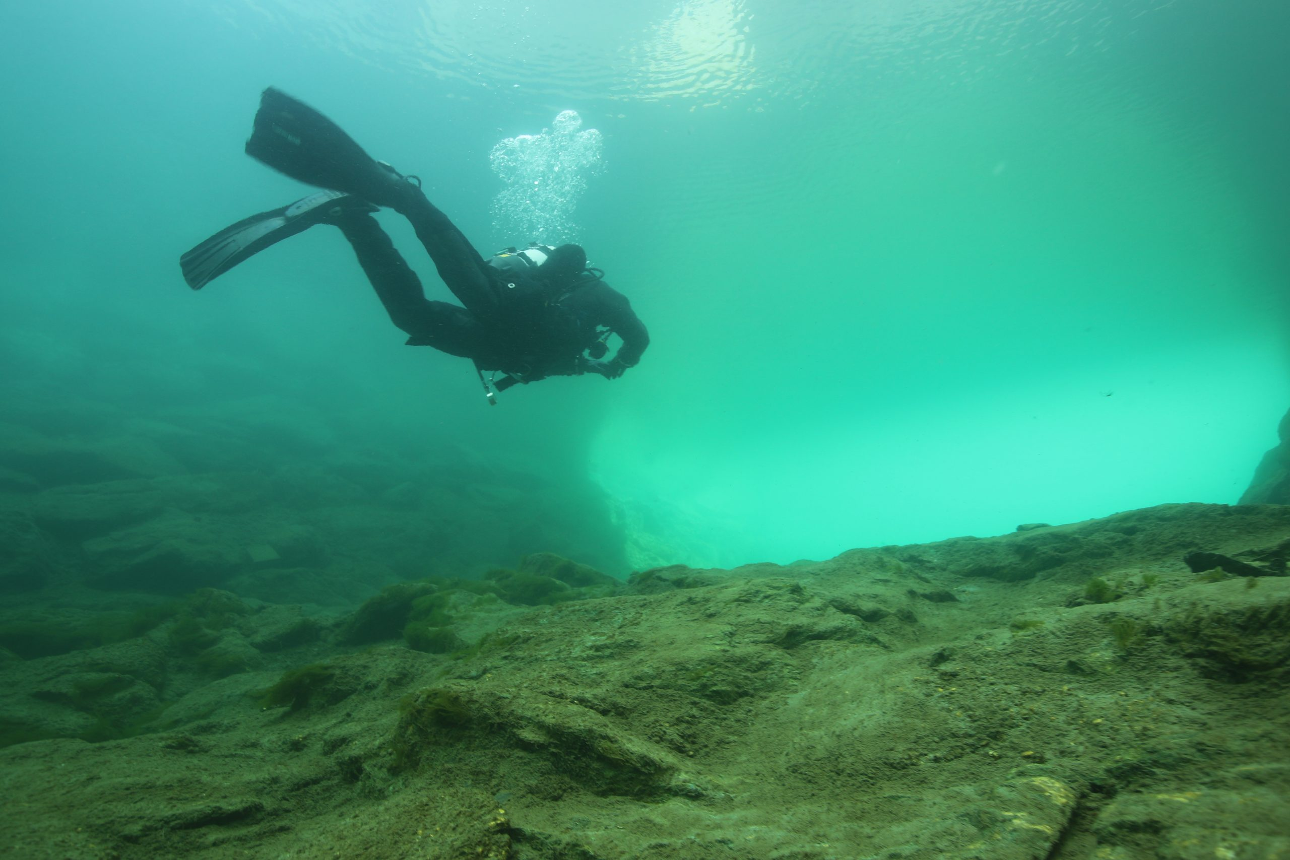 dry suit diving and camera